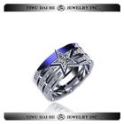 Daihe aço inoxidável anel estrela com CZ pedra
