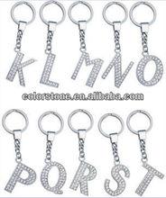 Alphabet pendant,letter key chain pendant,Alphabet charm with crystal