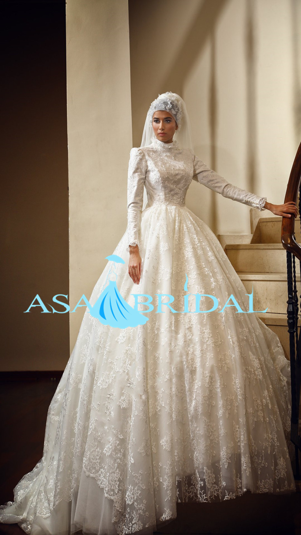 Musl-1889 Gorgeous Bridal Gowns From Dubai Gelinlik Lace Long Sleeve ...