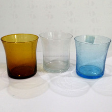 Colored Glassware, Amber Whisky Glass, Clear Glass Holder