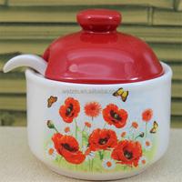 Red Ceramic Honey Storage Jar
