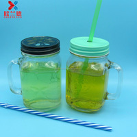 15oz 400ml glass mason jar with handle and daisy cut lid with hole for color stripe straws