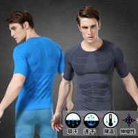 Man tight short sleeve jersey Shape clothing breathable short sleeve T-shirt