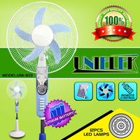 Emergency 110 volt cooling fan parts oscillating ventilation rechargeable battery fan with light