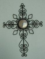 Metal Home Decorations Religion Cross Wall Clock