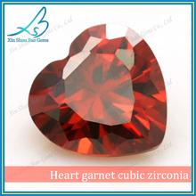 Loose garnet heart zircon, heart cut CZ, heart zirconia
