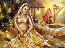 Classical Indian women painting for bedroom decoration