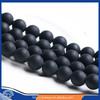 "4/6/8/10/12mm natural Grind arenaceous black agate loose gemstone beads wholesale 16"""