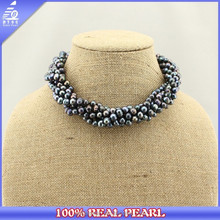 2015 Elegant Statement Beaded Pearl Jewelry Necklace, Black Freshwater Pearl Necklace Designs