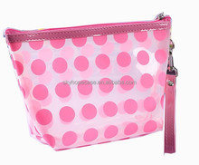clear pvc bag pvc cosmetic bag, clear transparent dots travelling bags, trend shopping bags