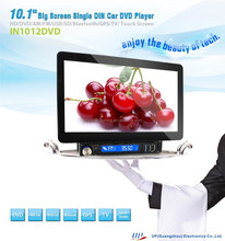 In-dash single din 10.1 inch big screen motorized car dvd player gps navigation