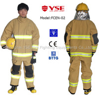 protective khaki 4 layer fire proof kevlar fireman working rescue suit clothing