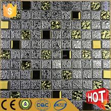 Electroplated glass mix ceramic mosaic, golden select mosaic wall tile