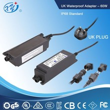 Constant voltage 12v 5a cctv waterproof power supply 60w dc power supply made by XingYuan