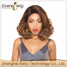 NEW Fashion Short French Curl Hair Style Peruvian Remy Human Hair Full Lace Wig Two Tone
