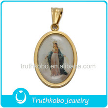 New Design Fashion Laser Cutting Religious Jewelry For Stainless Steel Resin Pure Mother Mary Pendant Jewelry Pendant for Muslim
