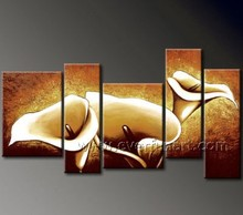 Decorative 5 Pieces Flowers Oil Painting On Canvas