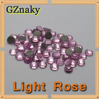 Top Quality ss10 LIGHT ROSE flatback hot fix rhinestone iron on transfer Garment decoration CRYSTAL GLASS ROUND STONE BEADS