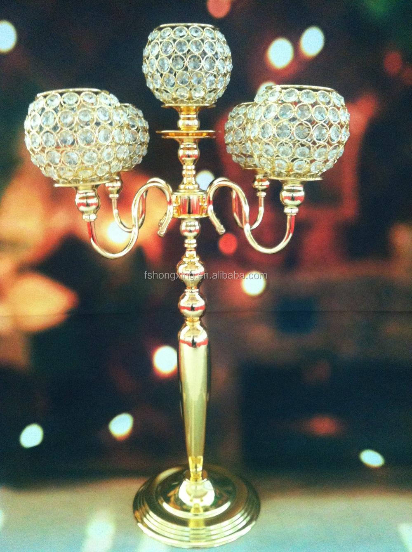 Arms tall wedding crystal globe candelabra centerpiece