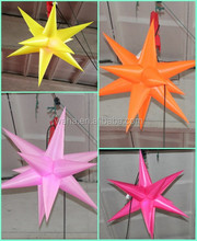 waha customized 210T polyester cloth inflatable star with led