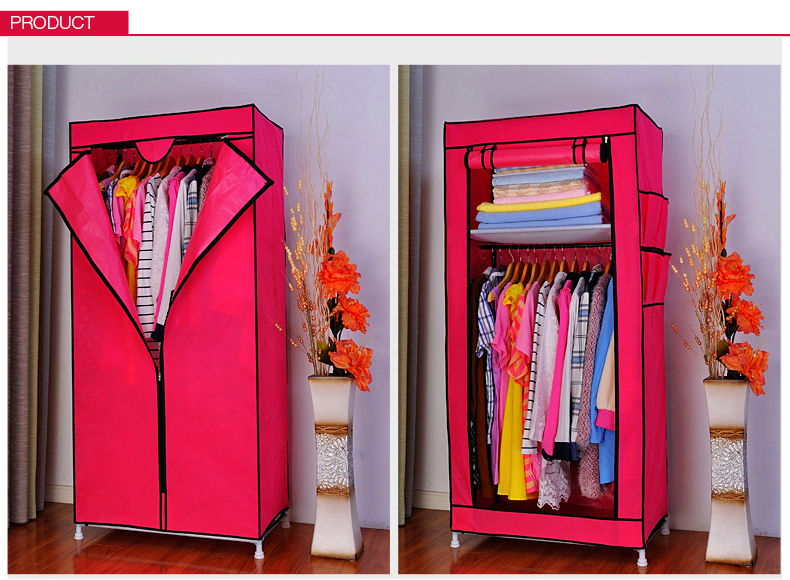 Portable Double Canvas Wardrobe Rail Clothes Storage