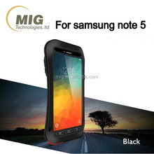 For samsung galaxy note 5 Love Mei brand Tri protect small waist AL metal case with glass film protector Phone cases