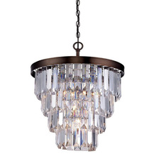 American style burnished bronze hanging Odeon clear glass 4-tier pendant chandelier light China supplier