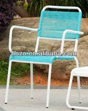 Iron frame outdoor rattan arm chair/ garden wicker dining chair