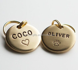 custom pet name engraved pet round ID dog tags, personalized logo engraved laser dog tags
