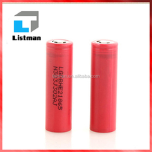 BUTTON TOP LG HE2 35A 2500MAH ICR18650HE2 18650 li-ion battery for electric golf trolley, dewalt power tools