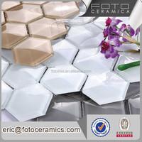 Cheap Sexangle / Hexagon shape crystal glass mosaic tile