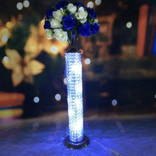 wholesale elegant new design fashion Crystal tall flower stand/flower vase/roman pillar for wedding table decoration