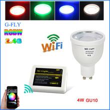 Mi.light Supplier New Wifi Android and IOS mi.light control system AC86-265V RGBW 4w gu10 led lighting bulb