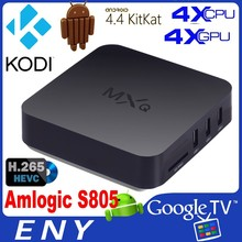 IPTV Google Android 4.4 smart tv box MXQ Quad core S805 CPU 1GB+8GB H.265 Decoding Kodi preinstalled Android tv streaming box