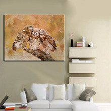 Warmly Feeling Handmade Animals Love of owl family oil painting