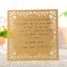 square brown menu card for wedding invitation