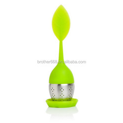 cute silicone and stainless steel tea strainer and Silicone Tea strainer/tea infuser