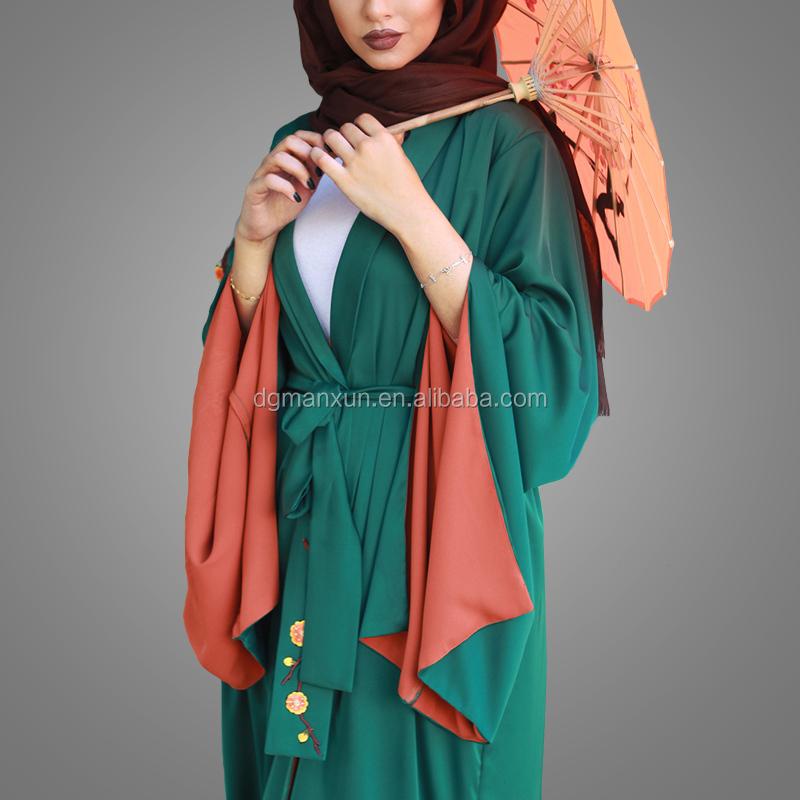 beautiful  green kimono abaya hand embroidery abaya  with fashion sleeves (2).jpg