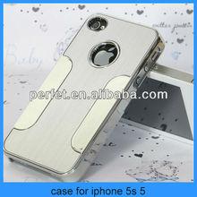 Silver Luxury Brushed Aluminum Chrome Hard Case For iPhone 5 5G 5s(PT-I5C208)