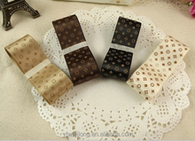 L * V style print satin ribbon 25 mm / 2.5 cm or lend silk sash DIY bow hair accessories accessories