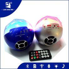 Colorful ball portable bluetooth mini speaker with Led light TF card USB port FM radio and remote