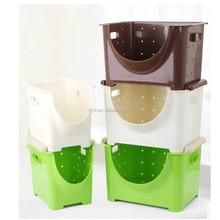 Plastic Stackable Storage Bucket/Basket/Organizer For Kitchen