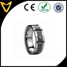 Manufacturer Black Center Tungsten Wedding Ring Inlaid Zircon