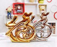 Gold silver glazed ceramic ornaments wholesale