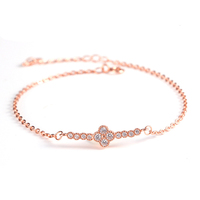 wholesale clover shaped rose gold plated factory direct sale 925 sterling silver jewelry