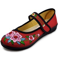 Flat cloth women shoes for summer autumn Chinese traditional Embroidered Shoes in red/ black dance shoes