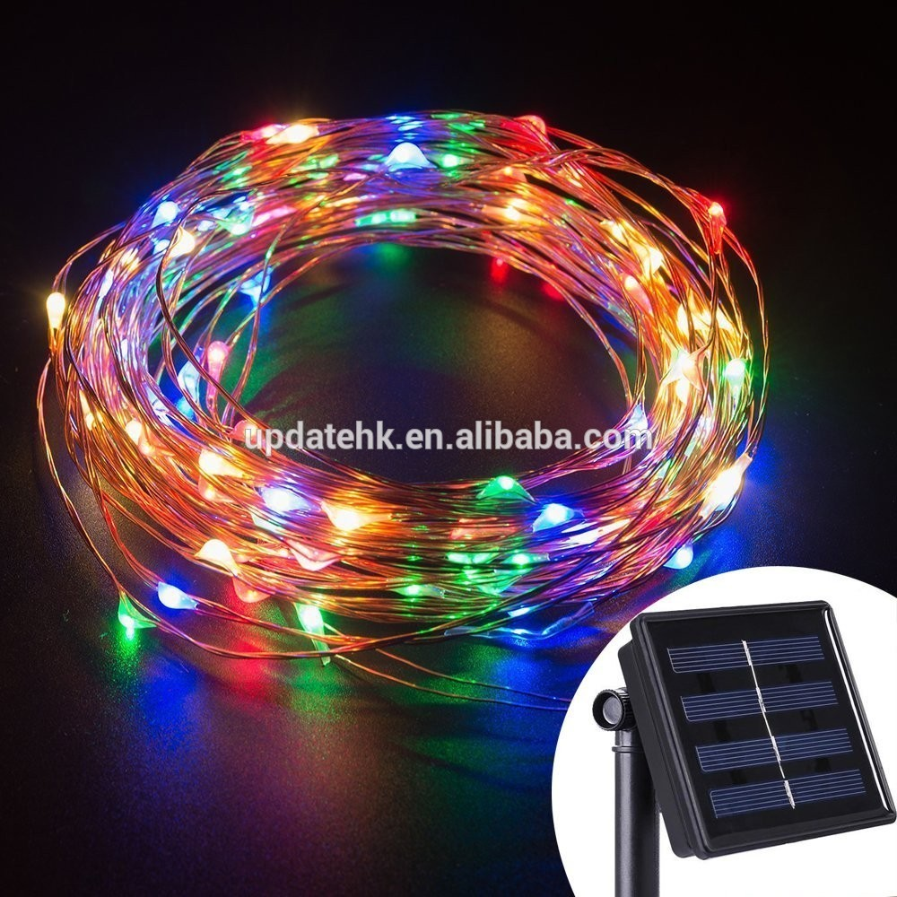 Solar Powered String Light 100 Leds Copper Wire Lighting For 10 Dancing Christmas Home Yard