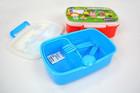 Lancheira de plástico de qualidade alimentar com colher conjunto garfo