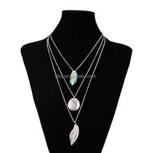 Alloy Multilayer Long Chains Vintage Leaf Shape Bullet Natural Stone Pendants Necklace For Women