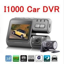 Full HD 1080p Car Dvr Dual Camera 2 Dual Lens Dash Cam I1000 For Vehicle Video Recorder Car Black Box Dvr With Two Cameras